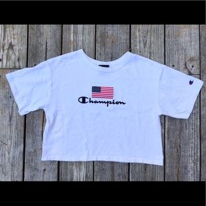 Champion Crop Top White Logo Tee - small - graphic